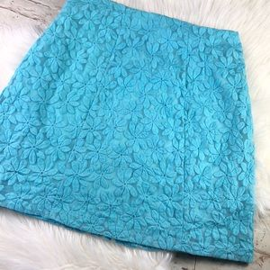 NY & Co. Blue Floral Lace A line Skirt